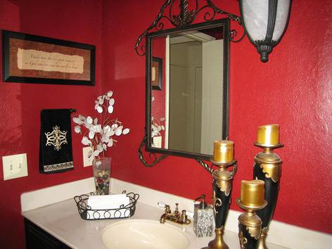 Red Contemporary Bathroom, Red Bathroom, Interior Design, Red Bathroom, Red and Black and White Bathroom, Interior Design,